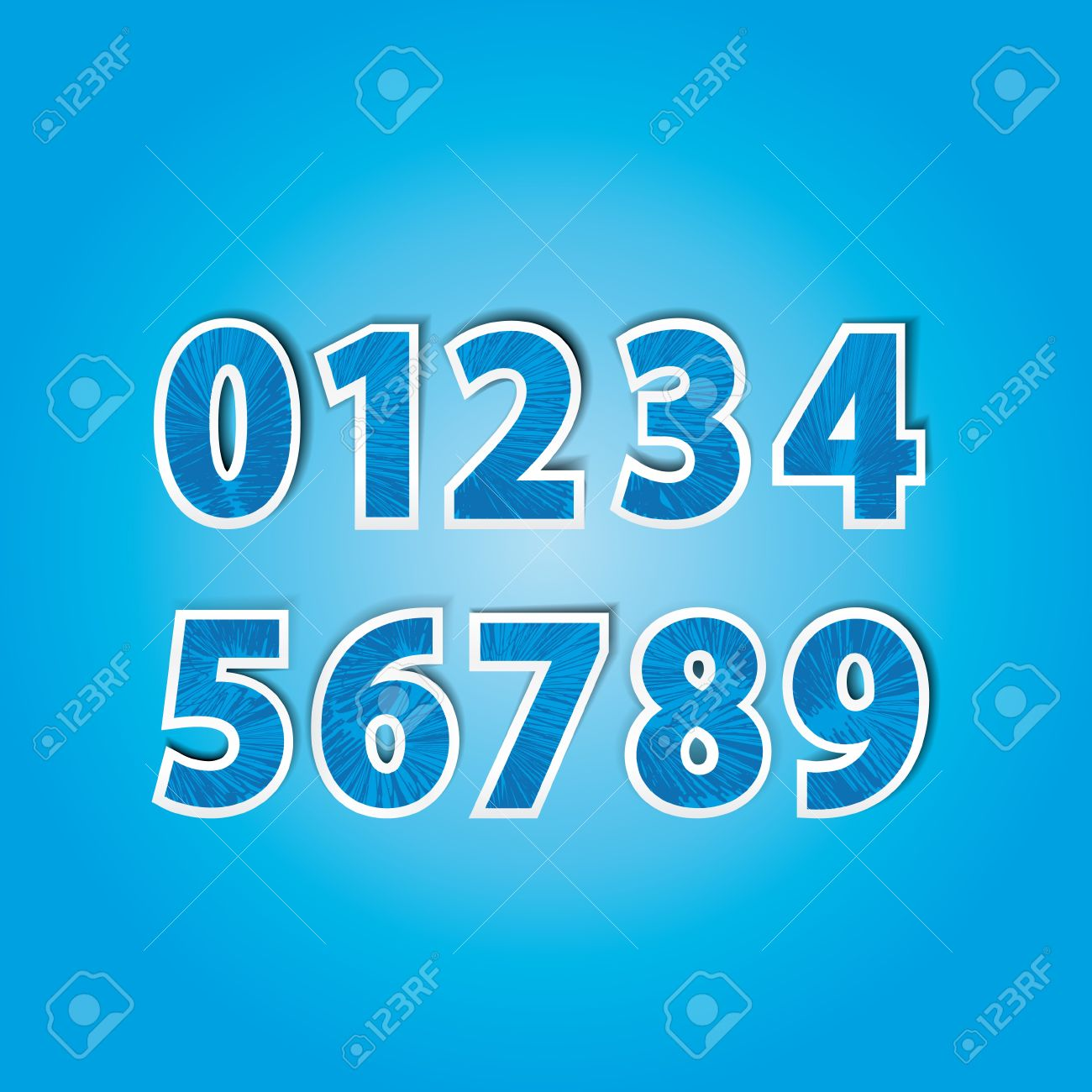 stickers with numbers from 0 to 9 in the color blue Stock Vector - 13498860