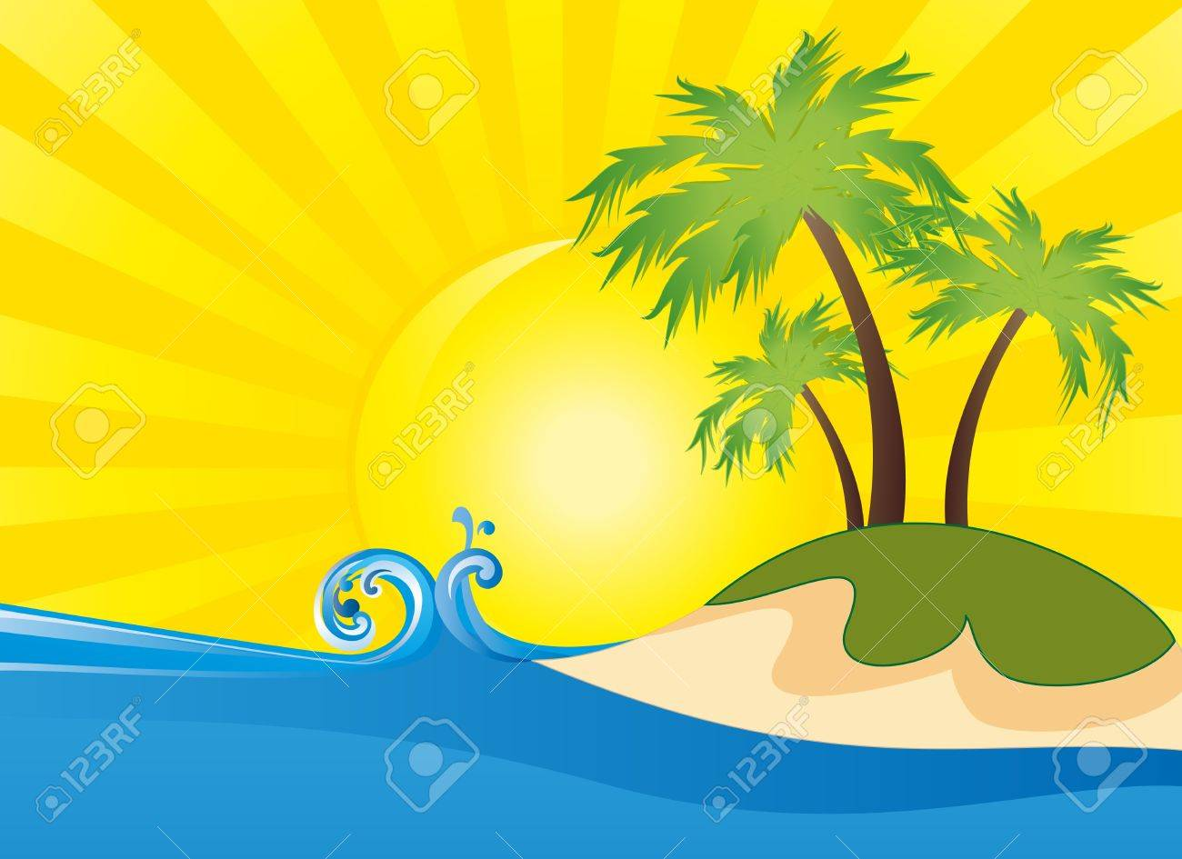summer themed beach illustration background royalty free cliparts