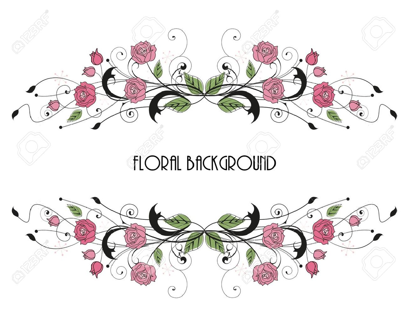 Roses Floral Frame With Place For Text Royalty Free Cliparts ...