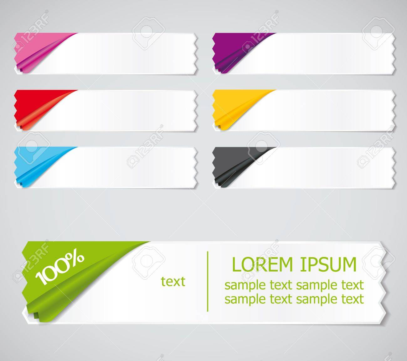 set of colored stickers, ribbons options for different samples Stock Vector - 13885287