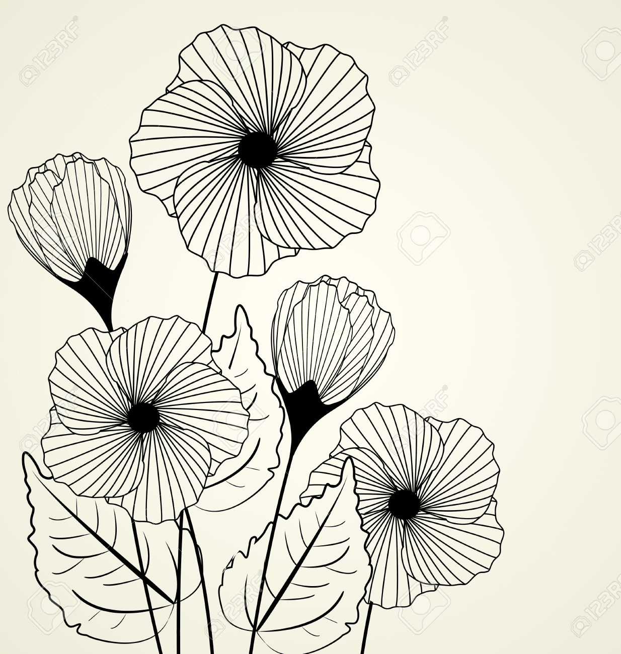 Flowers In The Wall Garden - Wall flower silhouette of garden flowers in the background illustration