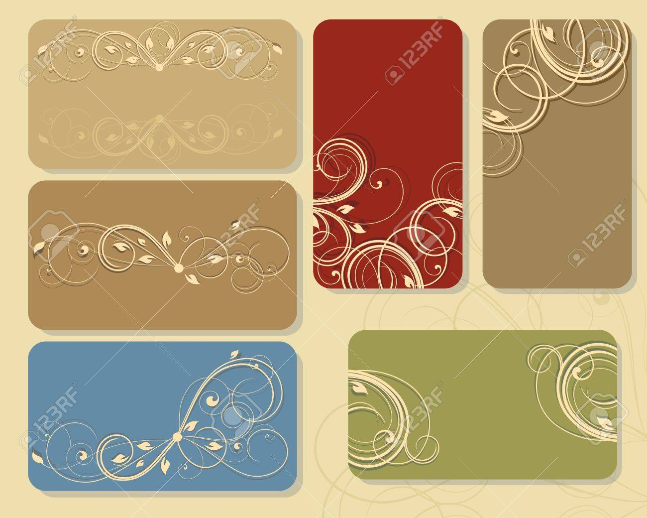 set of floral business cards or tags - 14206798