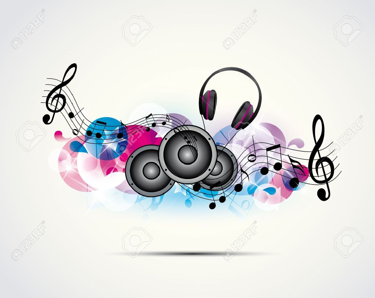HÌNH NHẠC 14398392-colored-background-music-with-headphones-and-speakers-Stock-Vector
