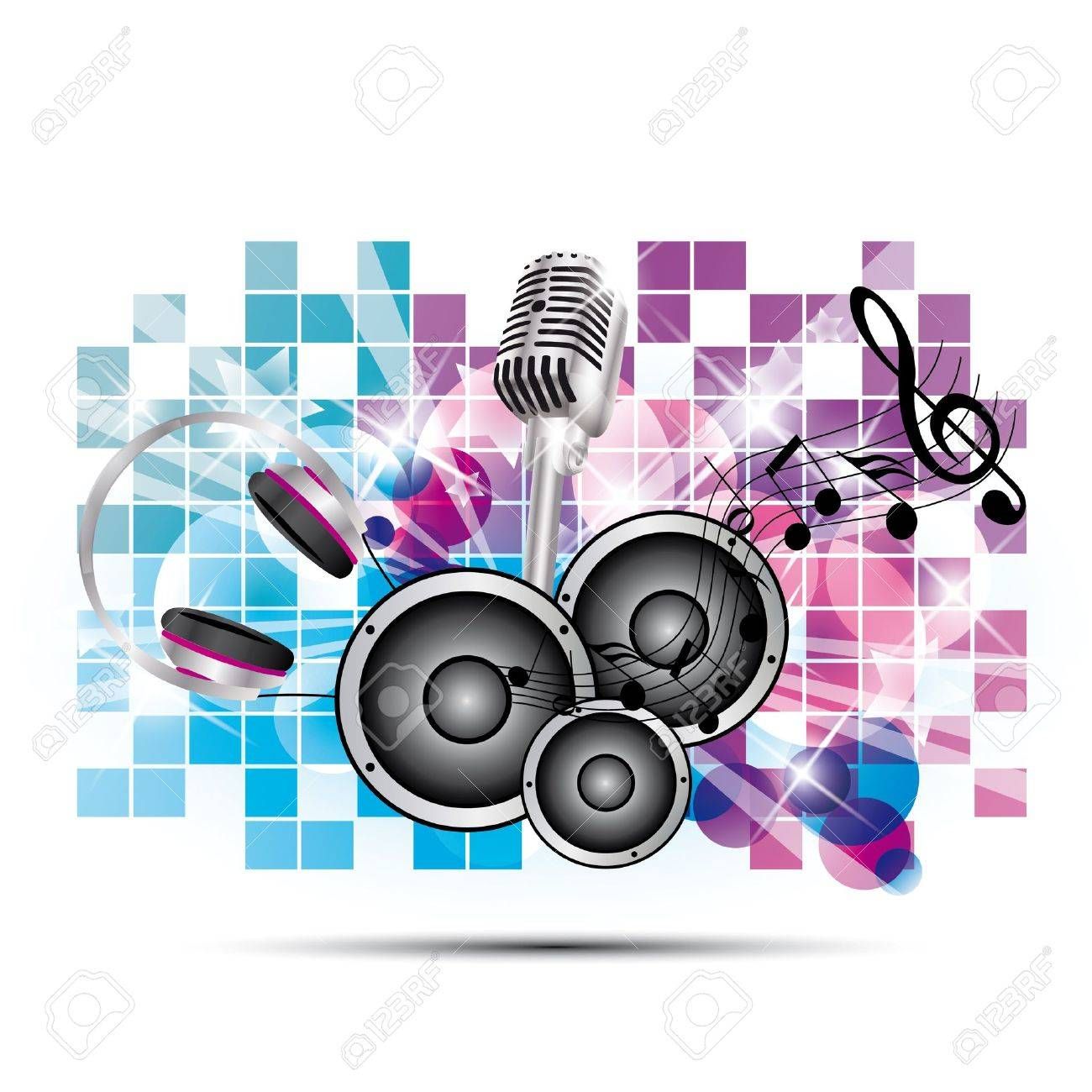 colored background music with headphones and speakers, microphone Stock Vector - 14553285