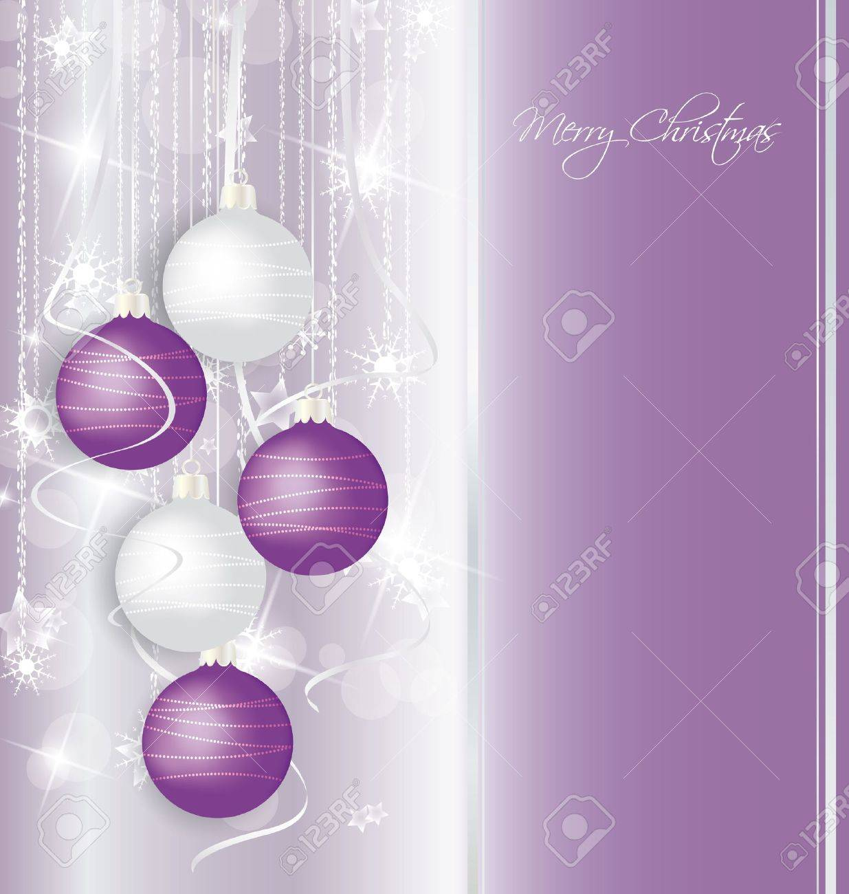 elegant Christmas background with purple and white  balls Stock Vector - 14618413