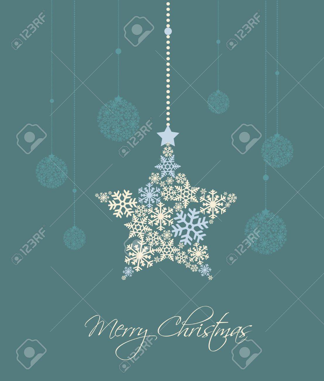 Christmas star and decoration ball on a blue background Stock Vector - 14971518