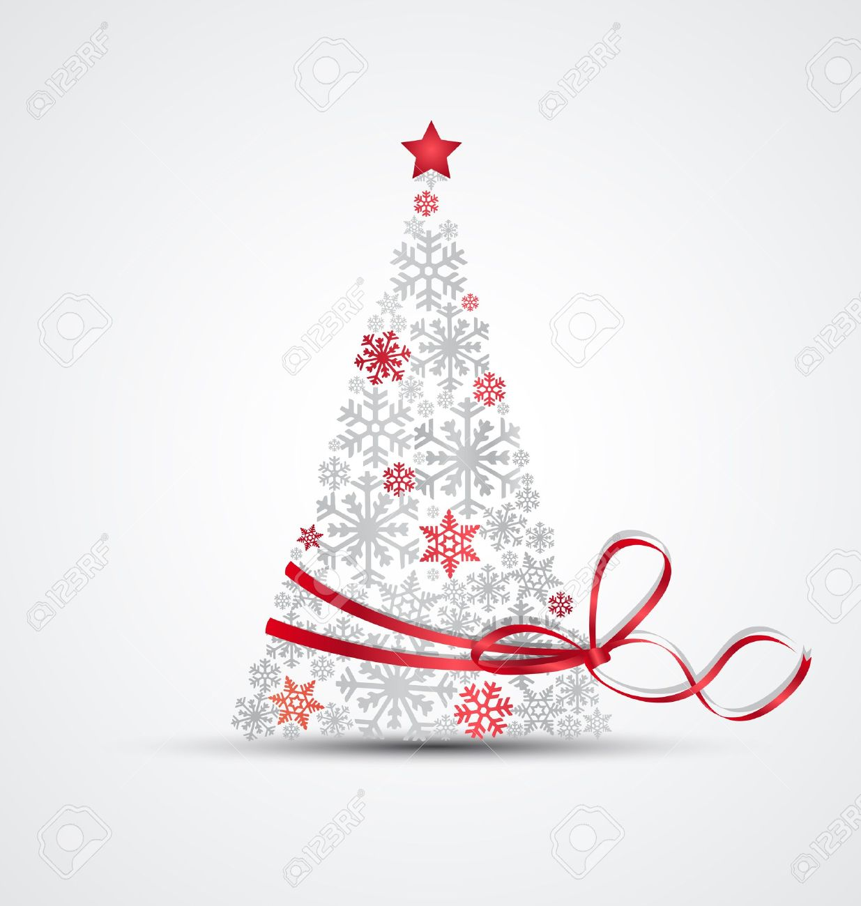 Christmas tree made from snowflakes with ribbon Stock Vector - 15658653