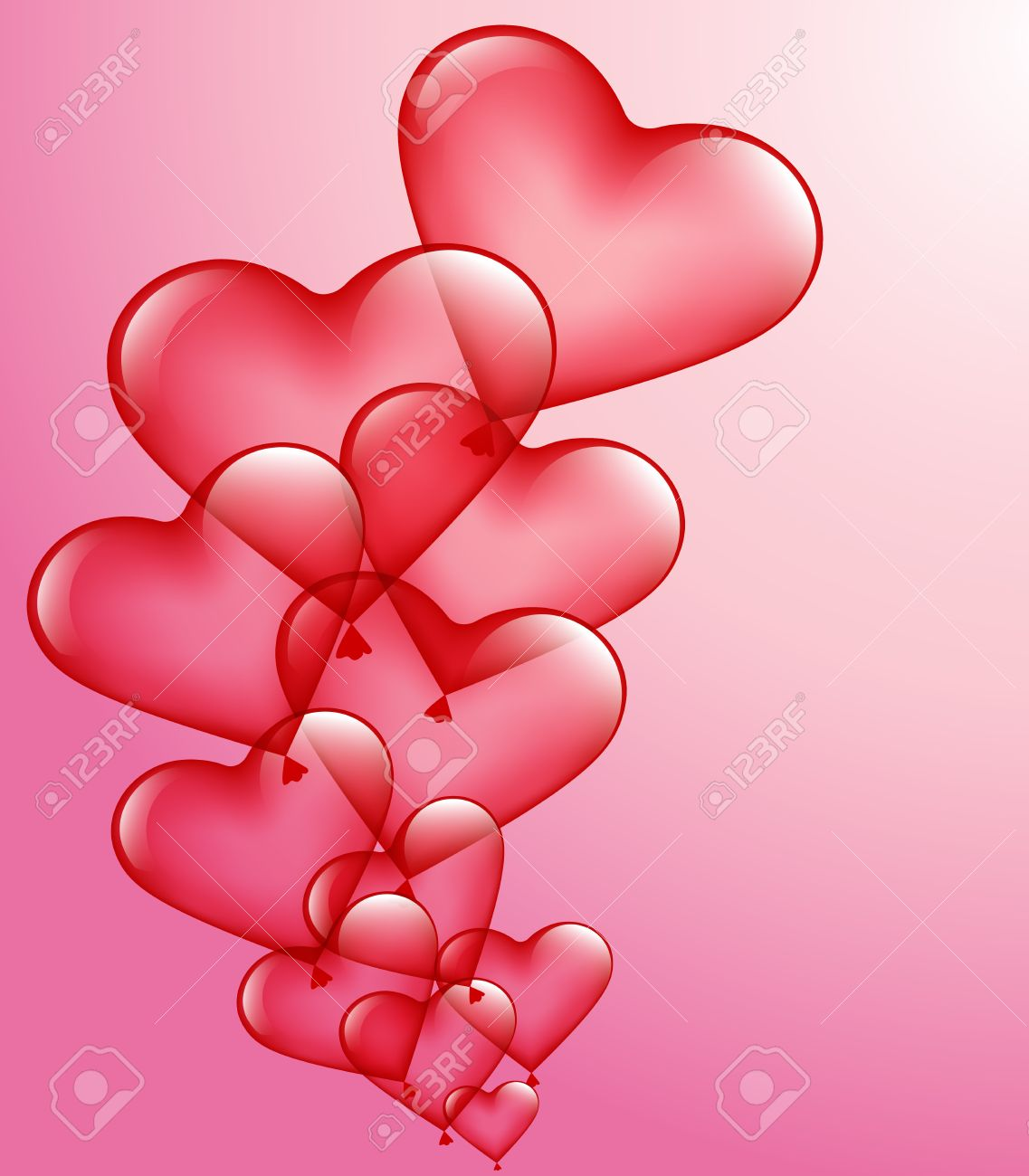 red heart-balloons on a pink background Stock Vector - 17272353