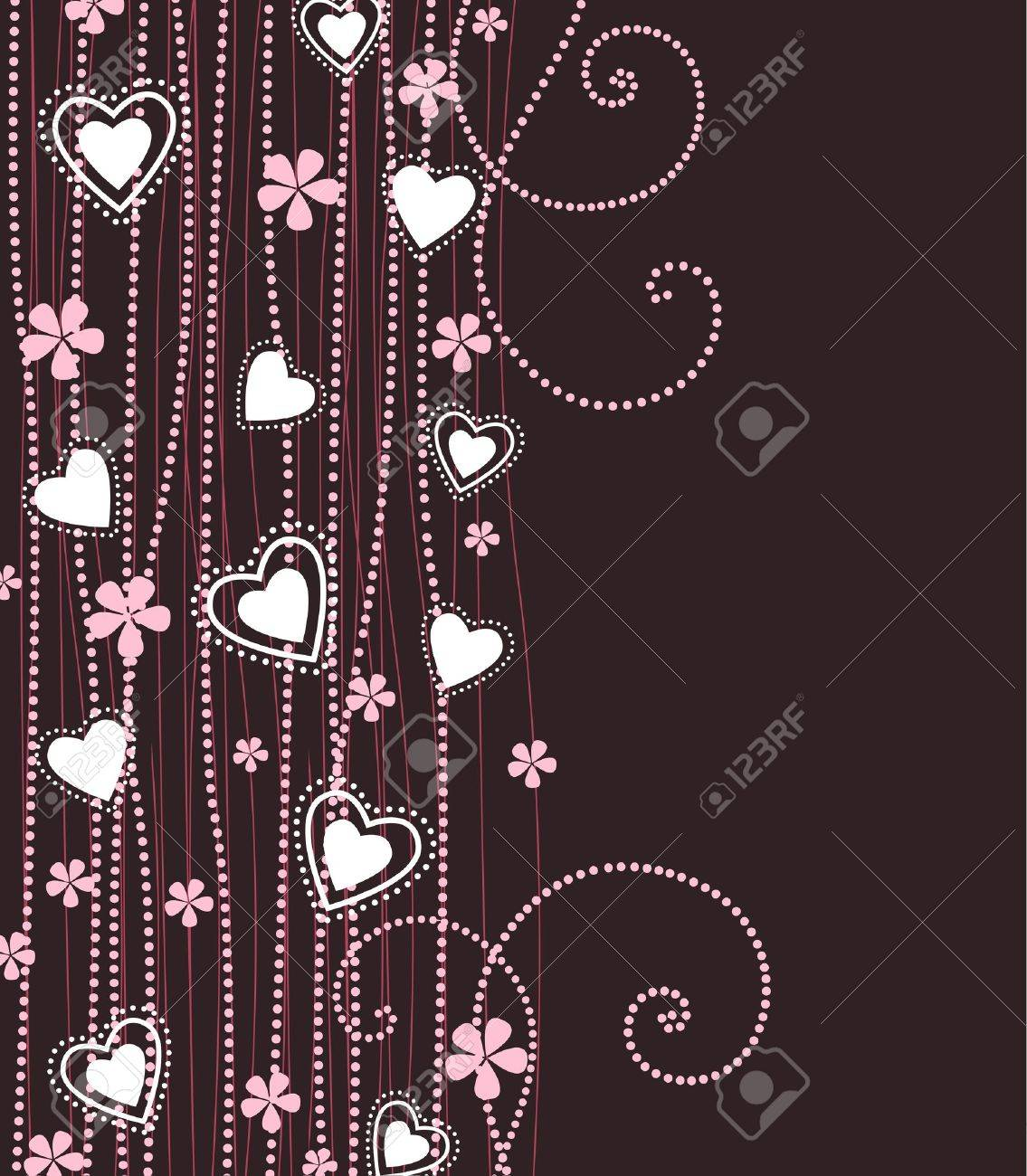 hearts with pink flowers on a violet background Stock Vector - 17576477