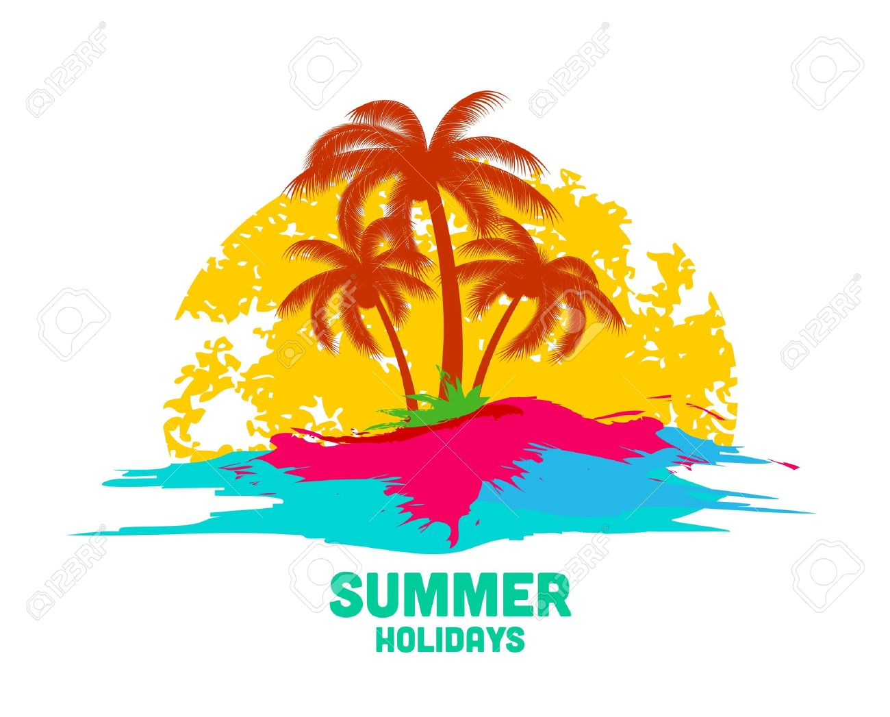 summer holiday logo with sea and palms Stock Vector - 18339073