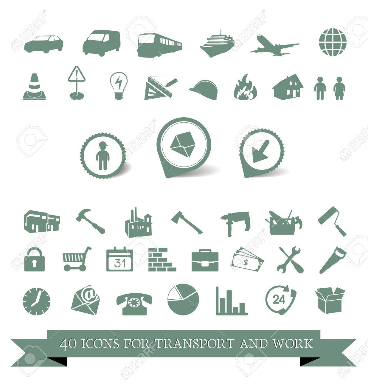 40 icons for travel and work tools Stock Vector - 18587163