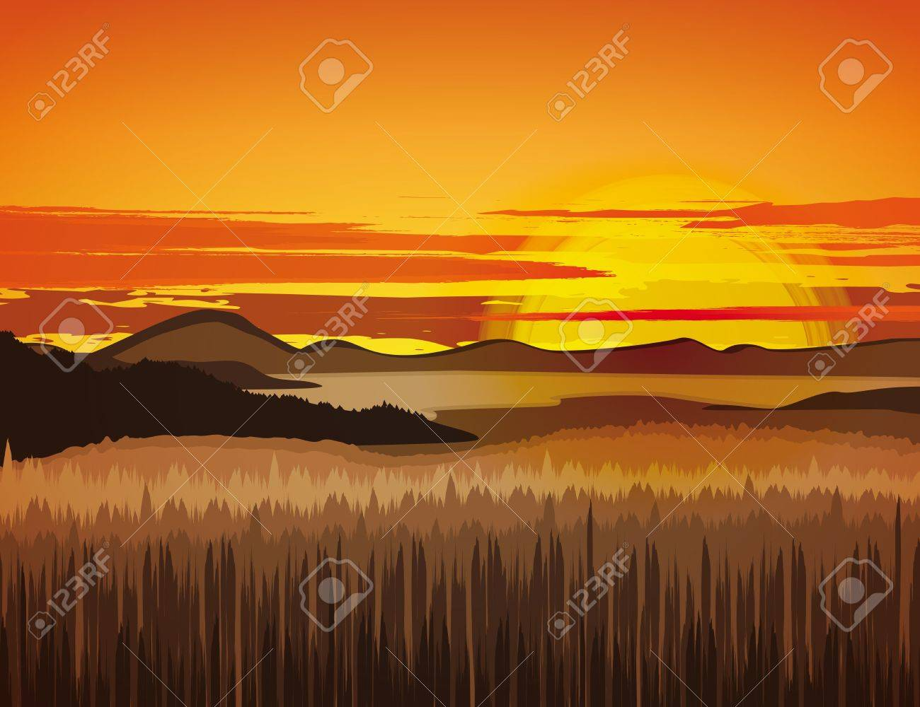 Landscape with rocky mountains at sunset Stock Vector - 18803120