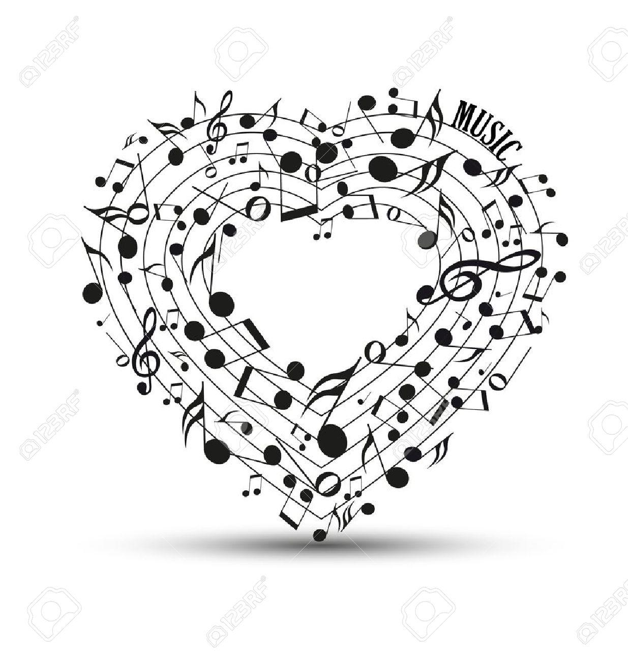 Decoración De Las Notas Musicales En La Forma De Un Corazón