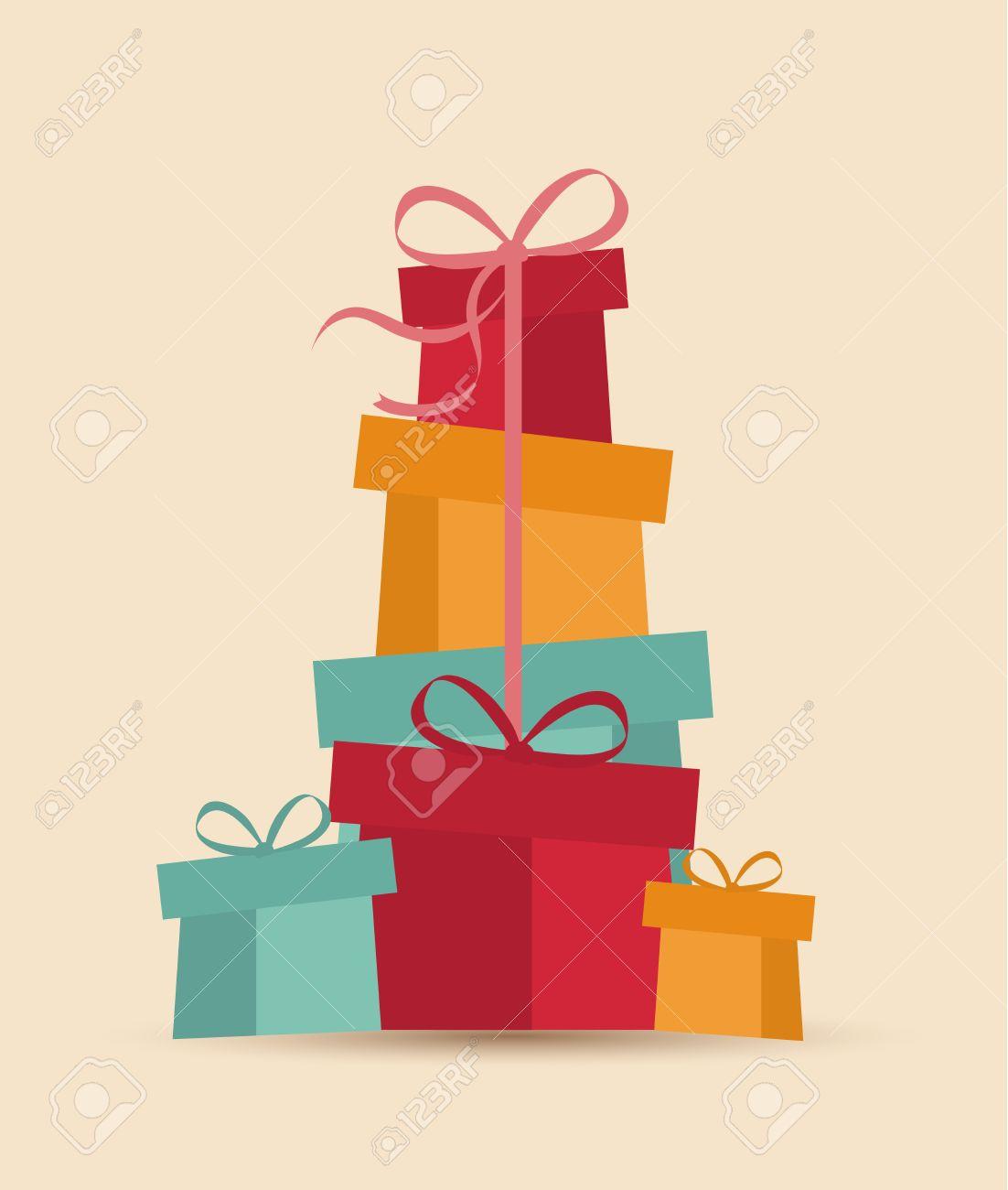 retro regalos vector tarjeta de navidad decorativos de navidad foto de archivo