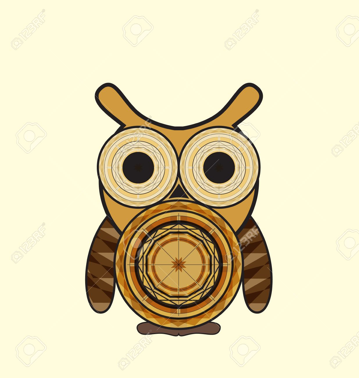 decorative owl in color with geometric shapes stock vector 33741082