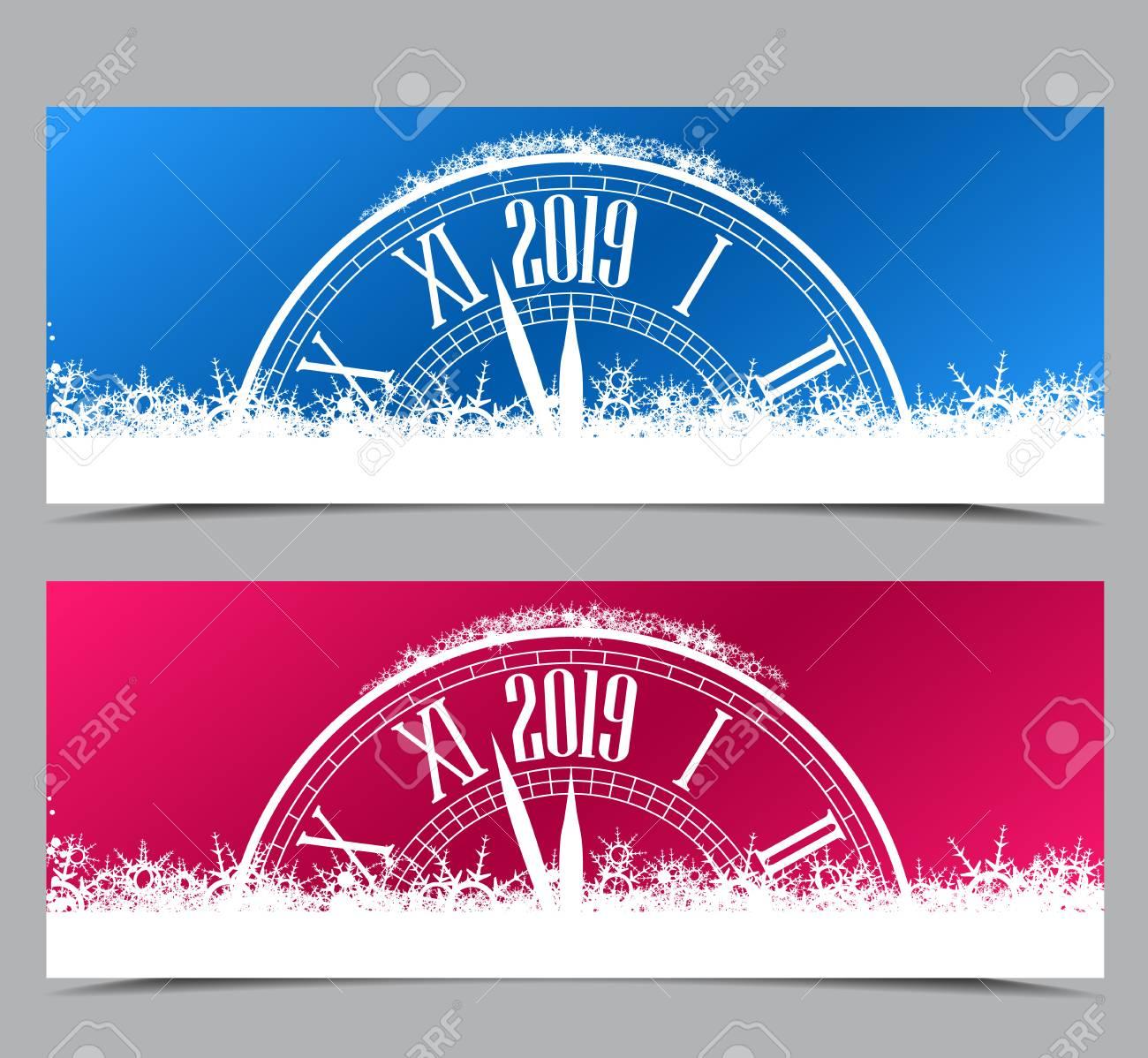 Super Bonne Année 2019, Illustration Vectorielle De Nouvel An Deux &TF_17
