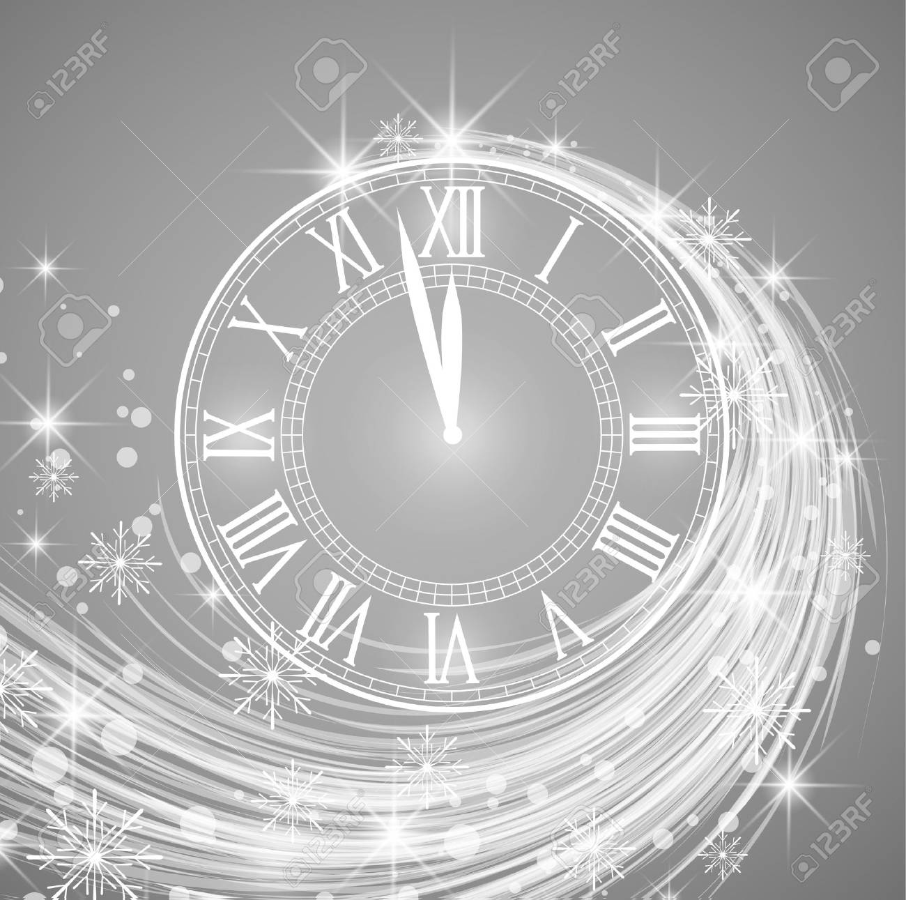 Happy New Year, vector illustration of new year background with snow and clock - 88672400