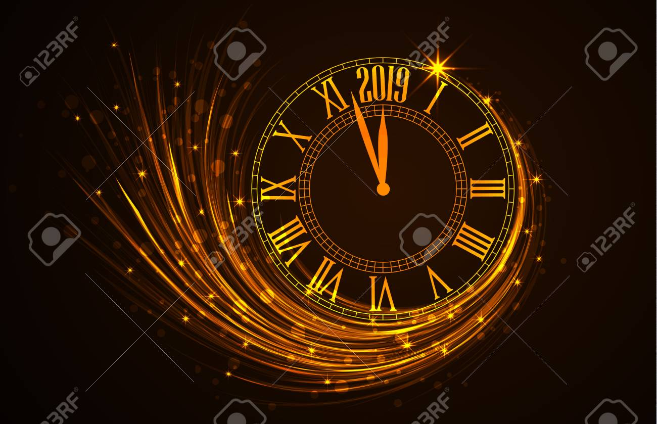 happy new year 2019 vector illustration of new year background with clock showing year stock