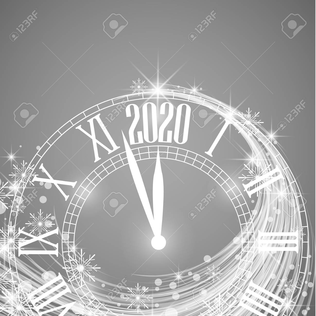 happy new year 2020 vector illustration of new year background with clock showing year stock