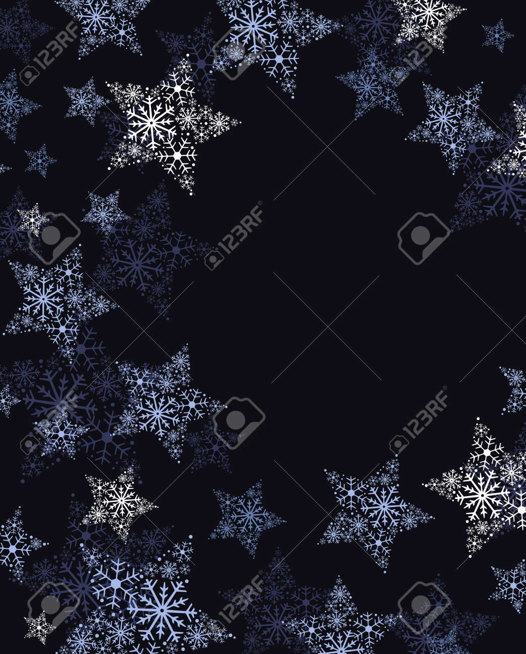 Vector illustration of stars. Christmas background. Merry Christmas card with snowflakes. - 152322940