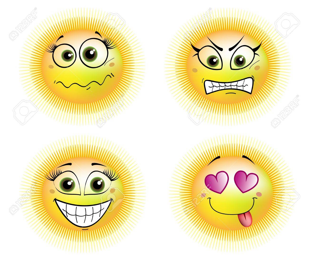 four suns - scared, angry, in love and smiling Stock Vector - 13859958