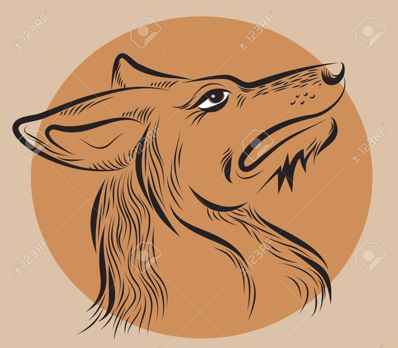 dog's head, drawn by hand  on a brown background Stock Vector - 14476487