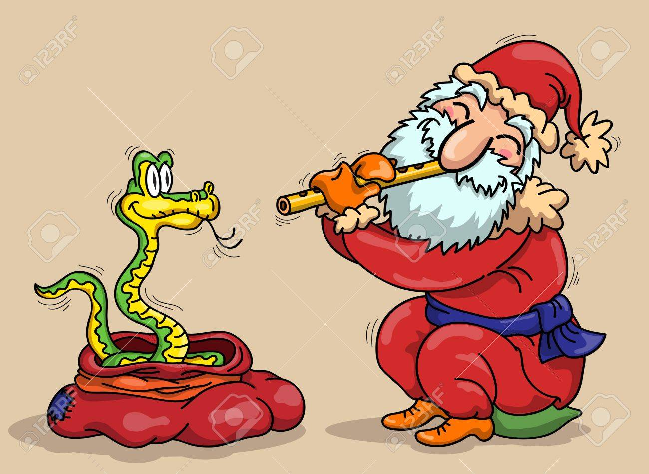 Santa Claus with flute and snake - a symbol of 2013 Stock Vector - 14661001