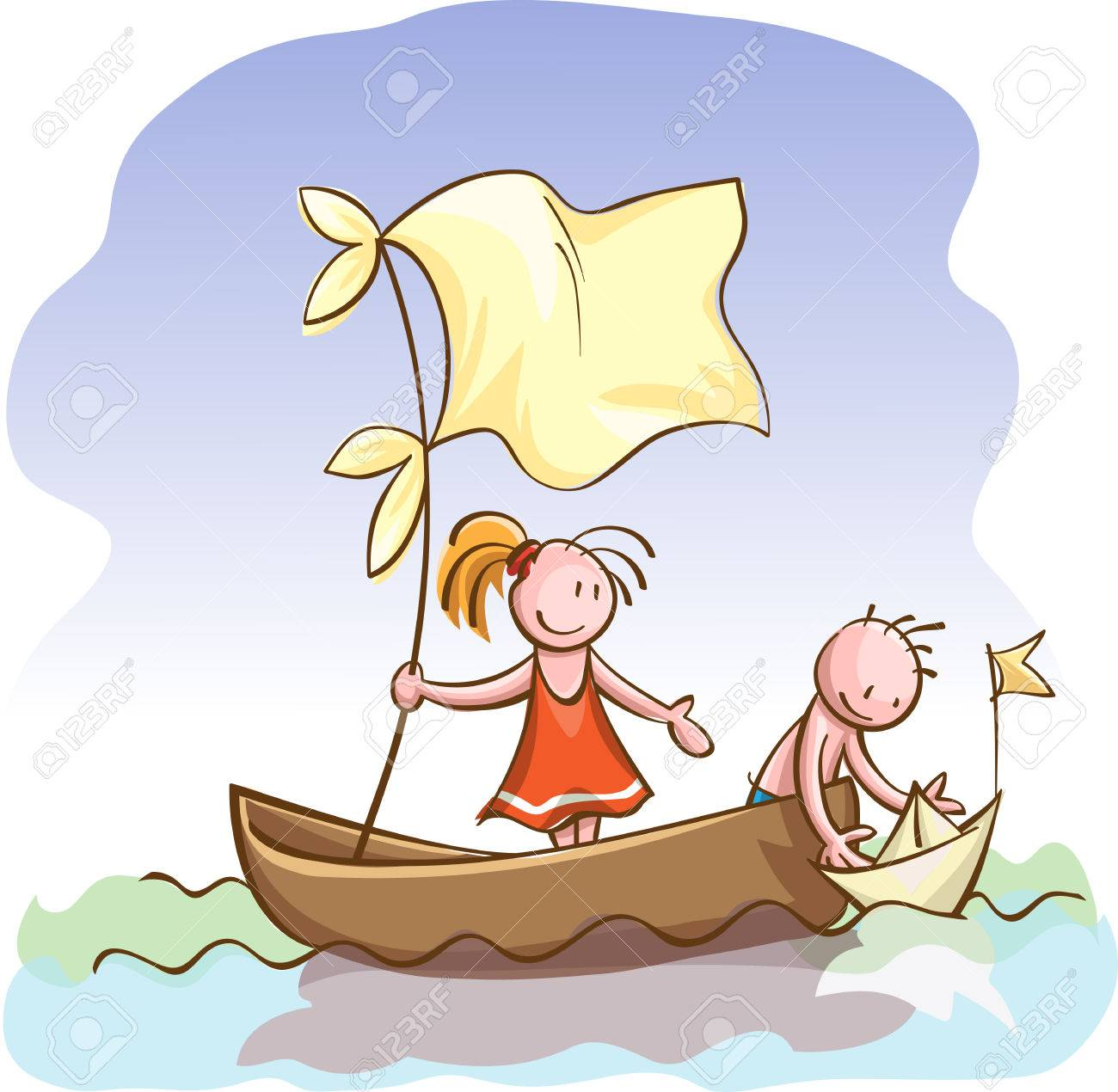 Niños En Lancha Motora En Un Barco De Papel Del Juguete En El Agua ...