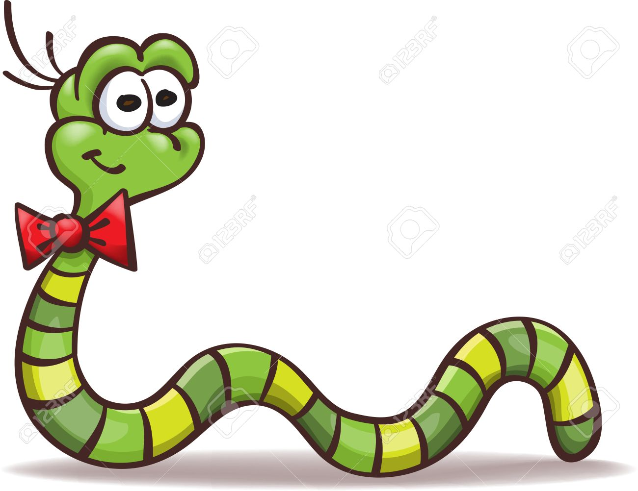 funny cartoon worm with a bowtie on the neck isolated on white