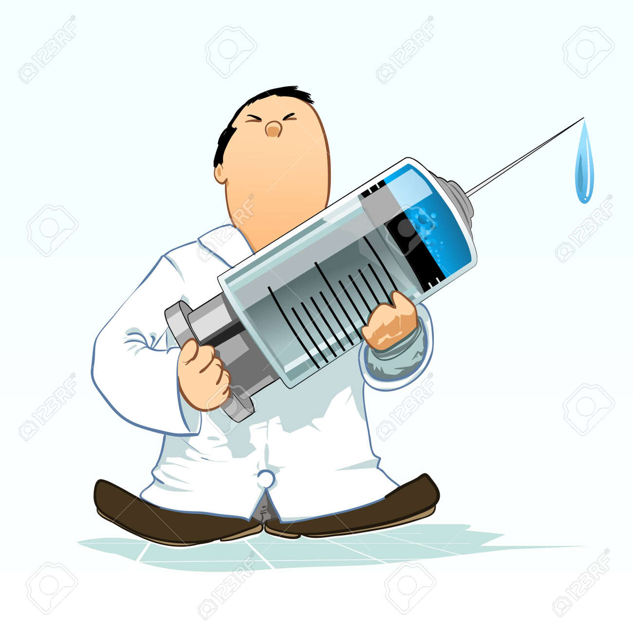 Doctor with huge syringe Stock Vector - 8668191