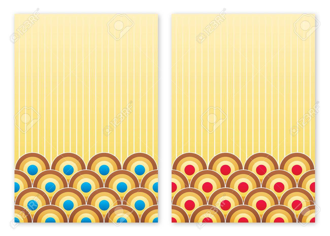 Two retro styled backgrounds with blue and red circles Stock Photo - 5115055