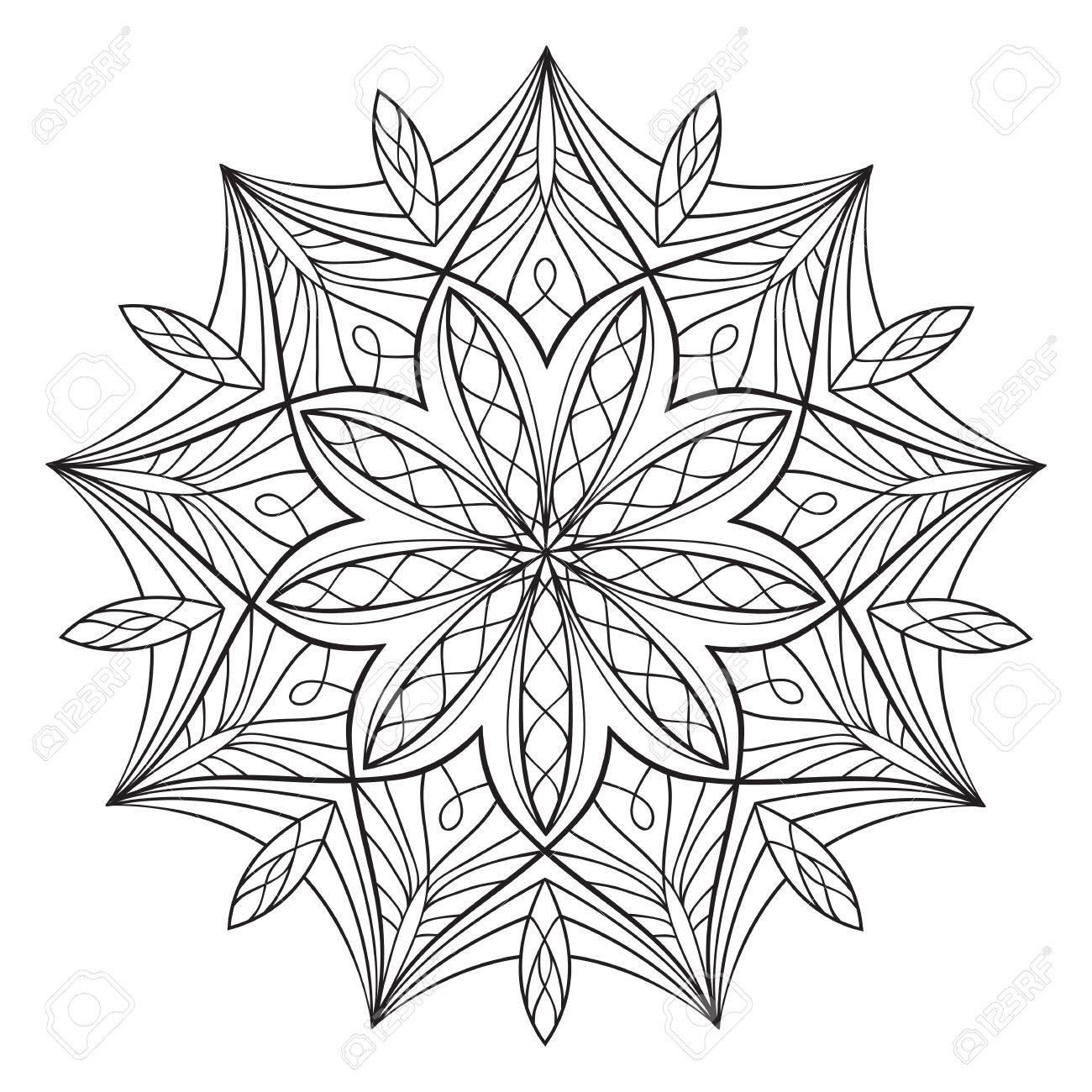 Coloring Book For Adults And Children Round Floral Mandala Element Anti Stress Relaxation
