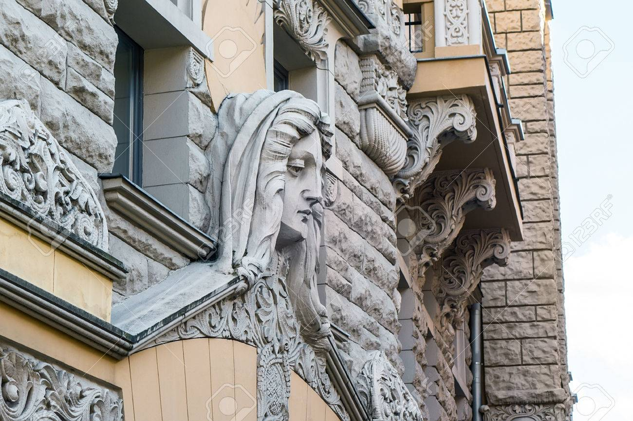 detail of art nouveau building in riga latvia art nouveau