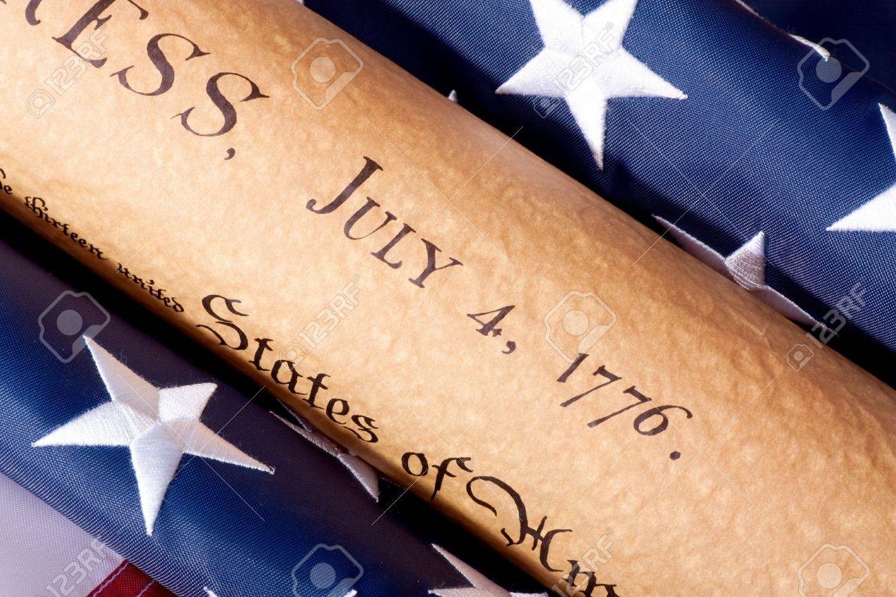 Fourth of July Parchment Document witdh American Flag Stock Photo - 5818655