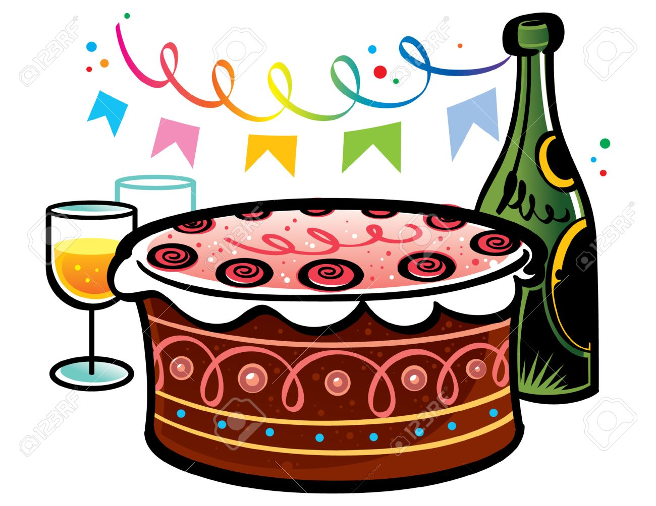 Sweet Birthday Cake with bottle of champagne and glasses Stock Vector - 6528531