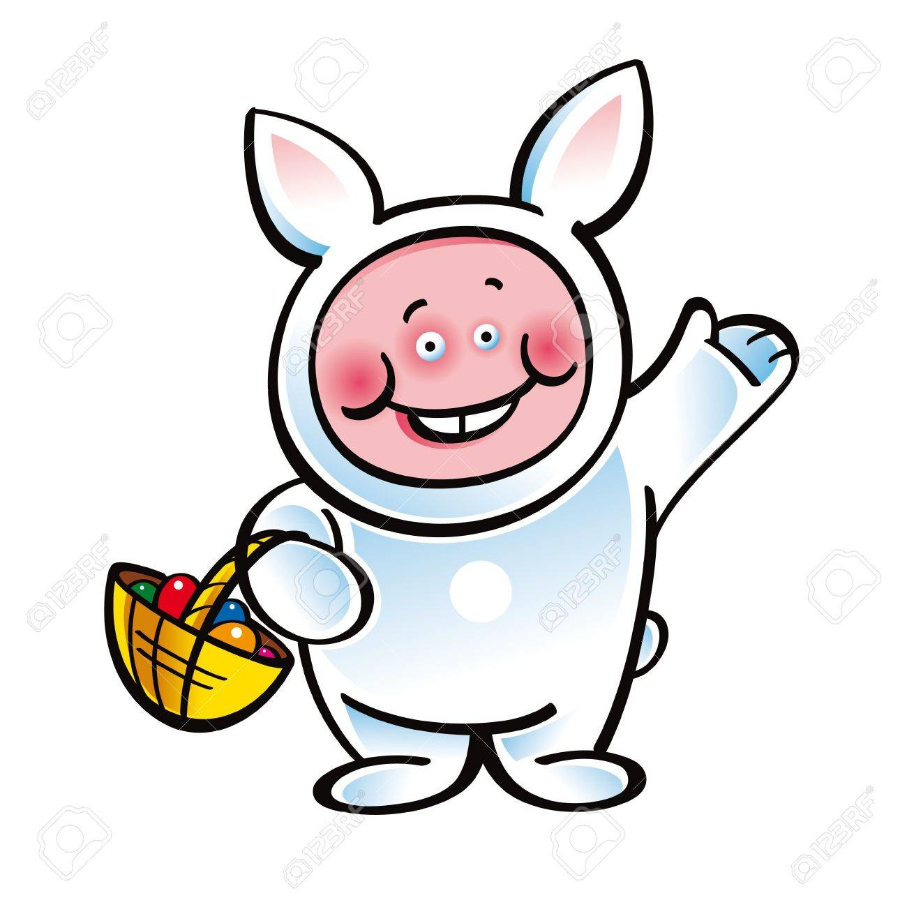 Easter Bunny funny holiday suit and basket with eggs Stock Vector - 11783107