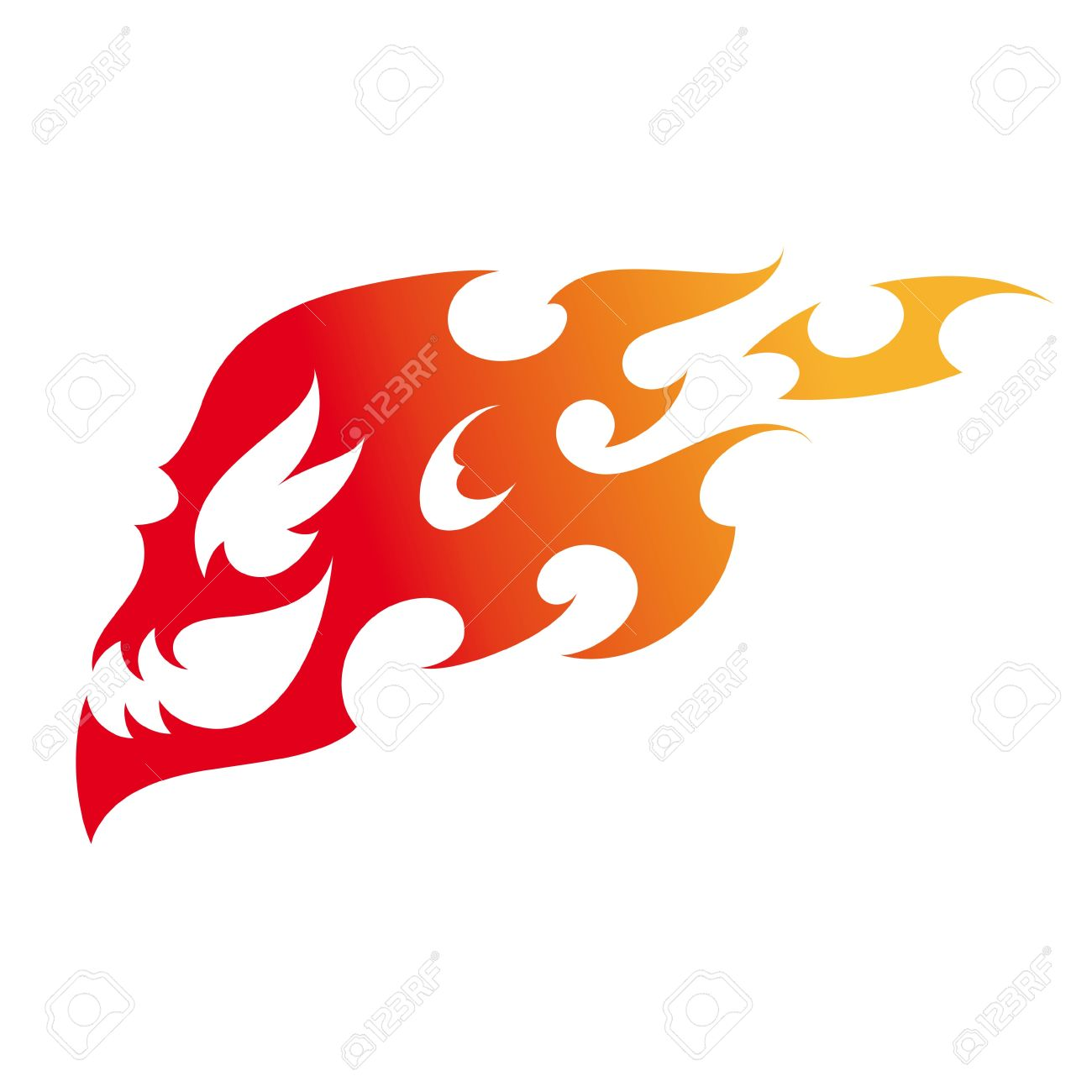 Fire Skull Decorative Tattoo Flame Burn Stock Vector