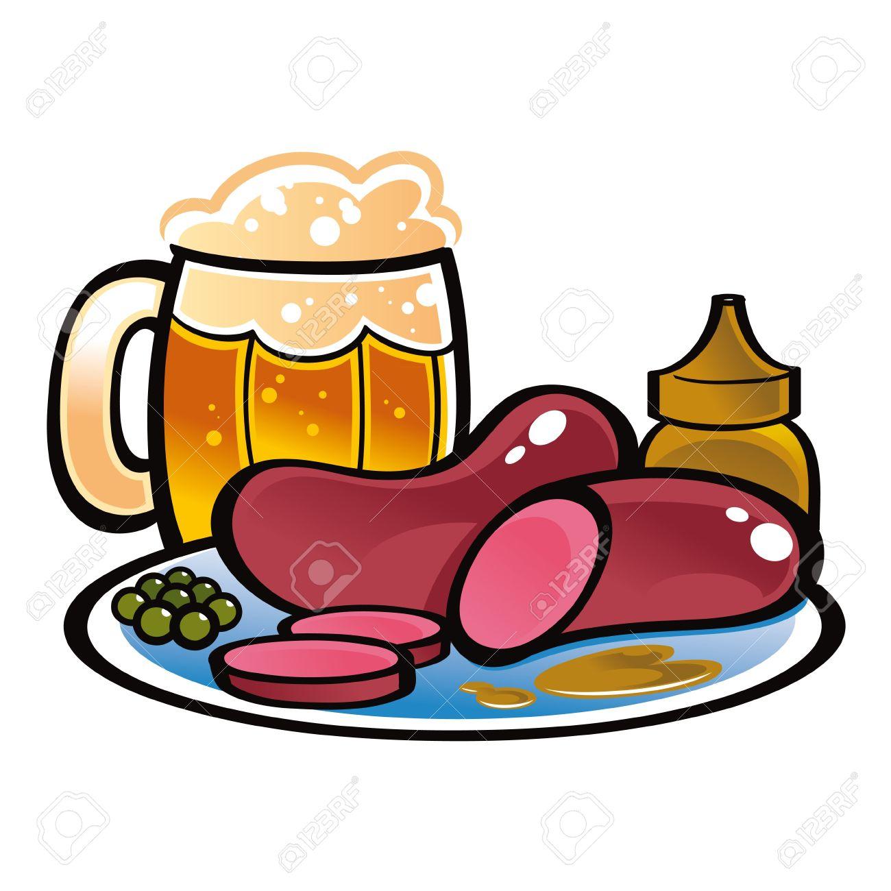 german sausages beer mug food drink mustard peas royalty free rh 123rf com no food and drink clipart food and drink clipart black and white