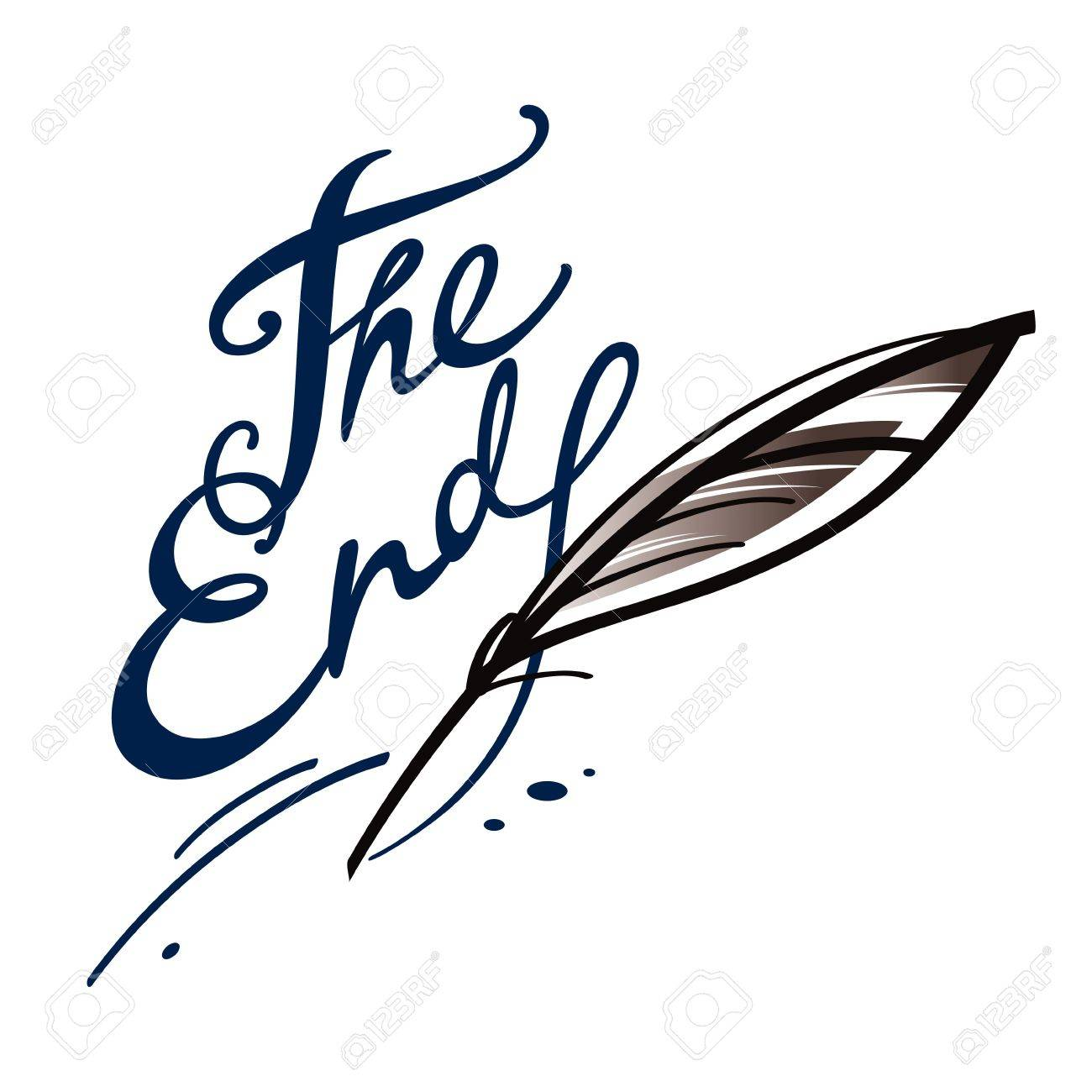 The end finish final chapter book letter ink feather Stock Vector - 11783123