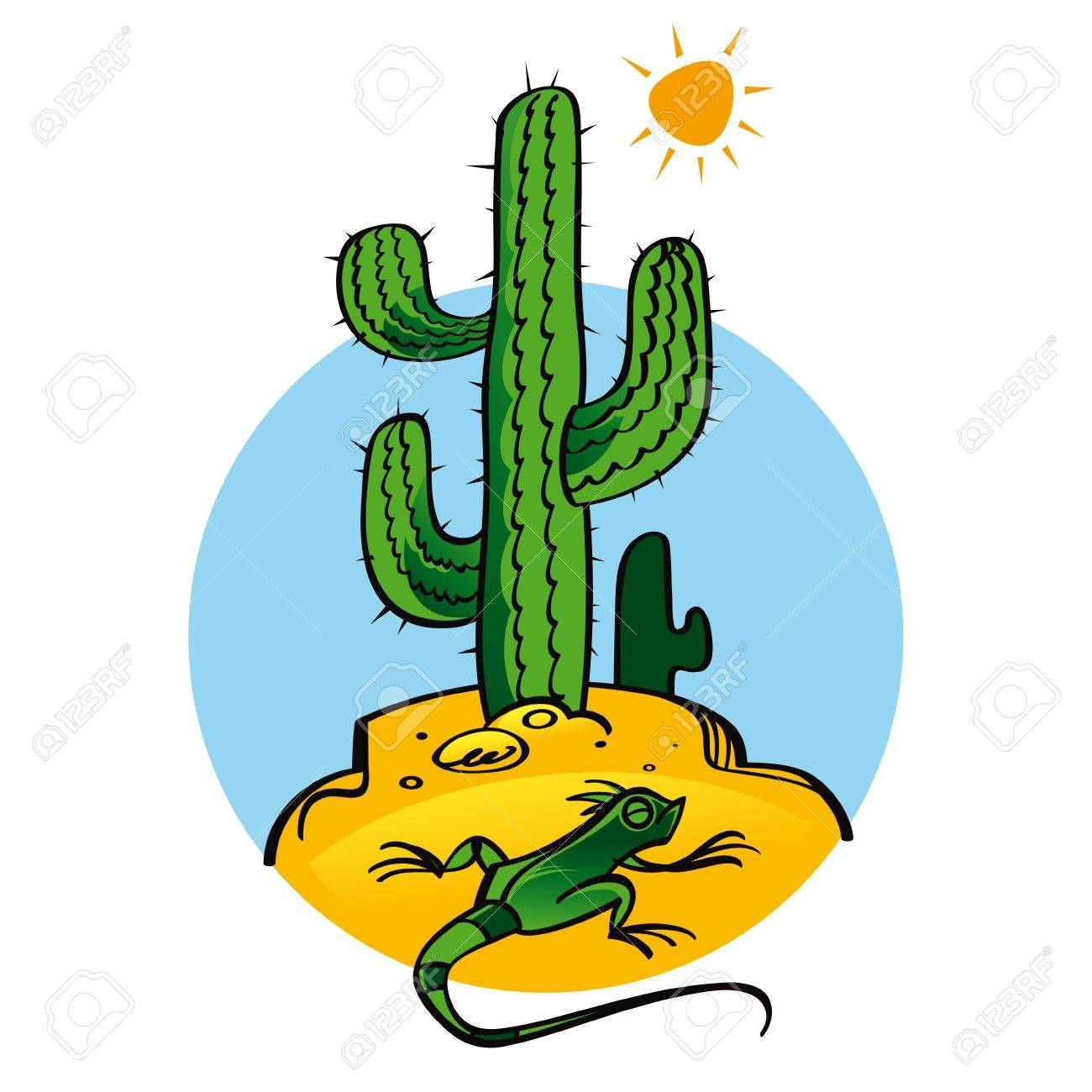 Cactus and Lizard nature plant reptile sun Stock Vector - 11852210