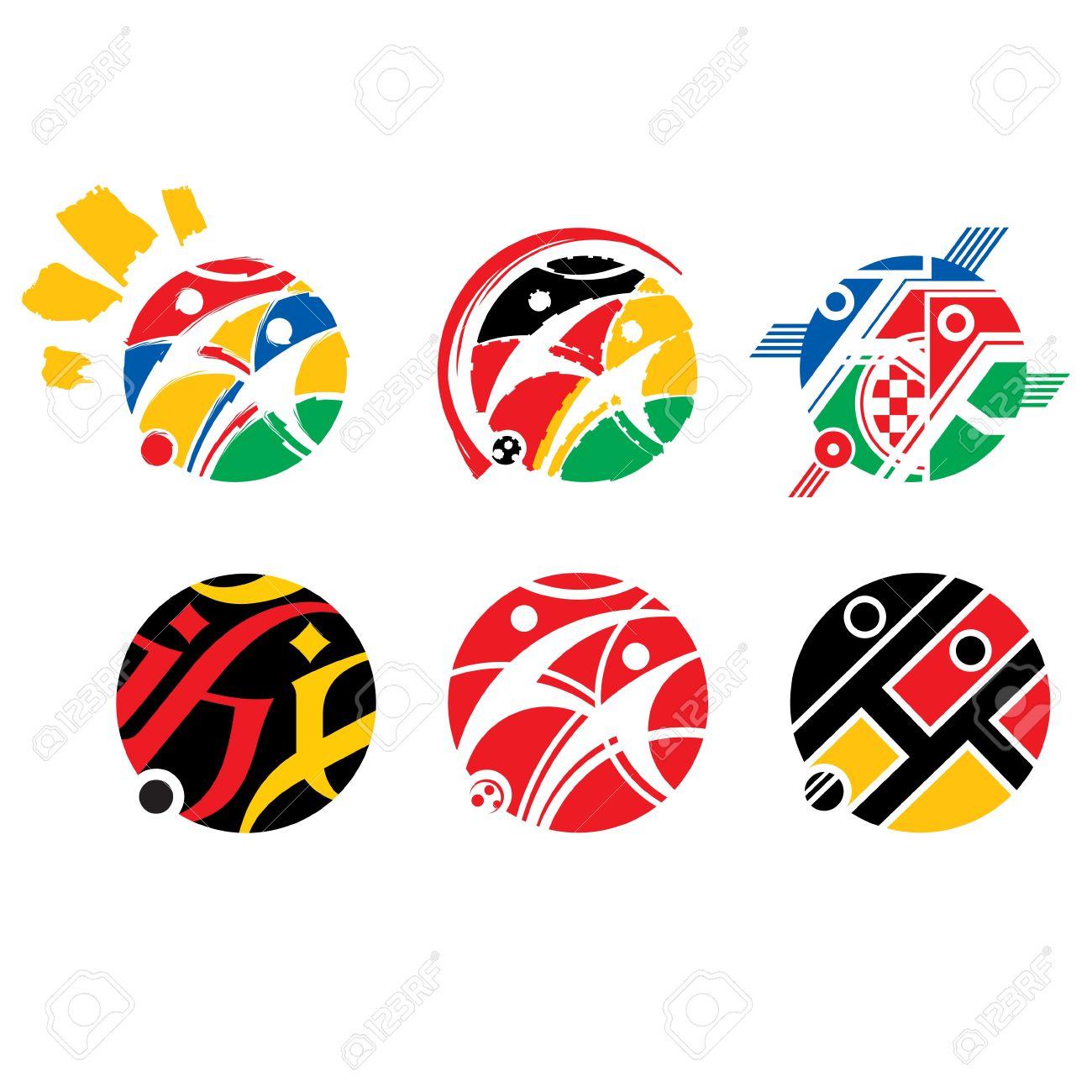 Vector set of football soccer logotype abstract variations for vector set of football soccer logotype abstract variations for tournament game design sign symbol stock vector buycottarizona