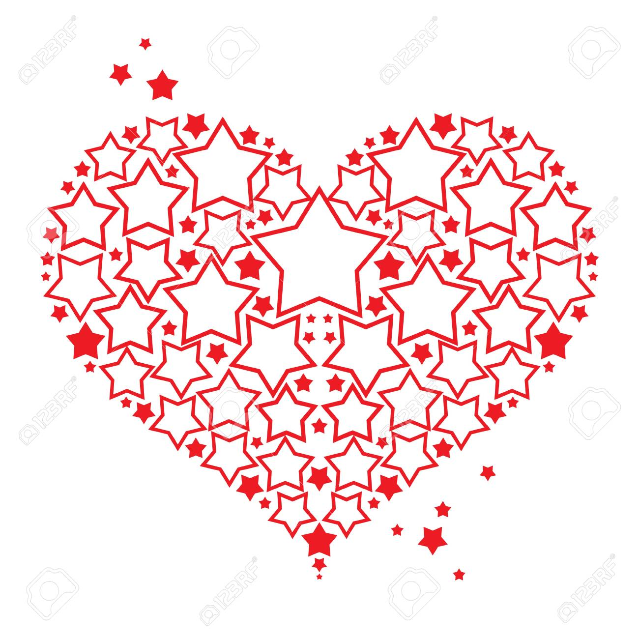 Love symbol red Heart with stars decorative element Valentines day postcard Stock Vector - 11915399