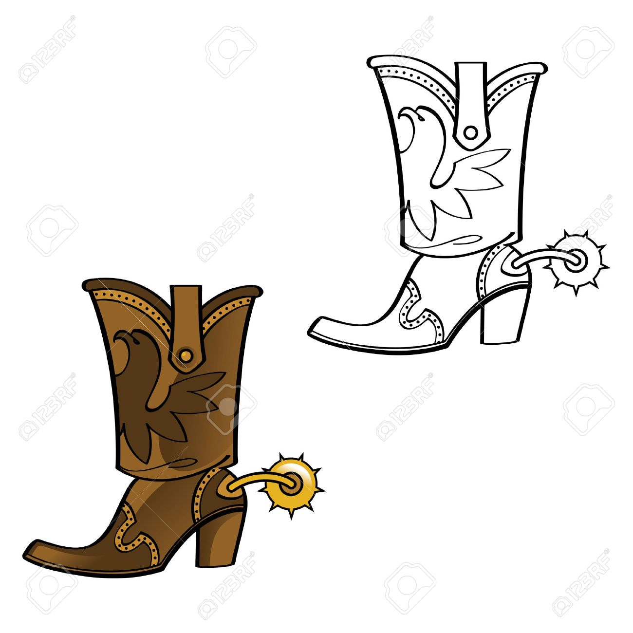 Boots fashion pic boots clip art - Cowboy Boot Shoe Leather West Western Spur Foot Wear Fashion Stock Vector 11916199