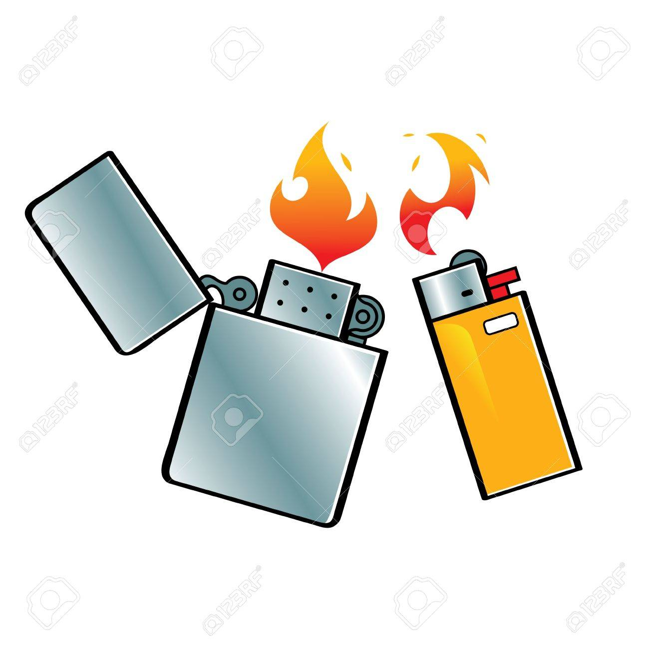 Lighters fuel steel fire flame smoking gas Stock Vector - 11916184
