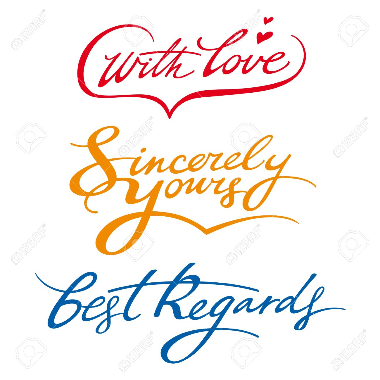 best regards sincerely yours with love signature royalty free