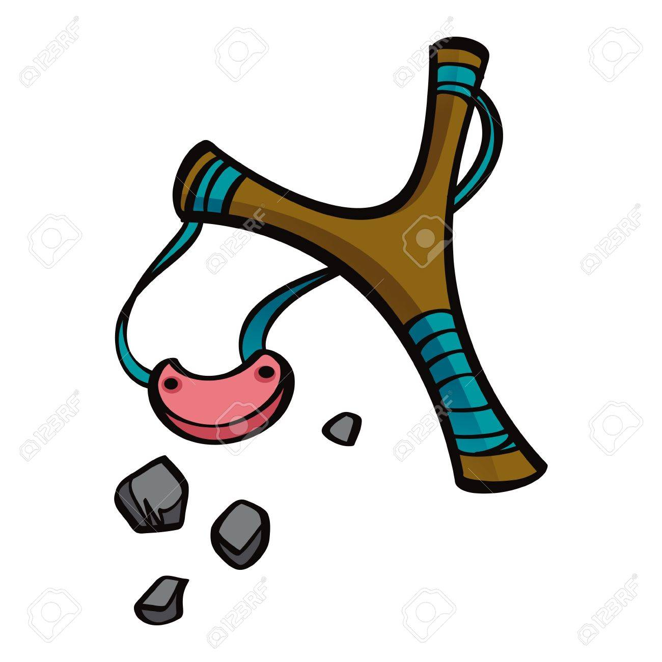 Old style wooden toy or weapon Slingshot with stones Stock Vector - 14410315