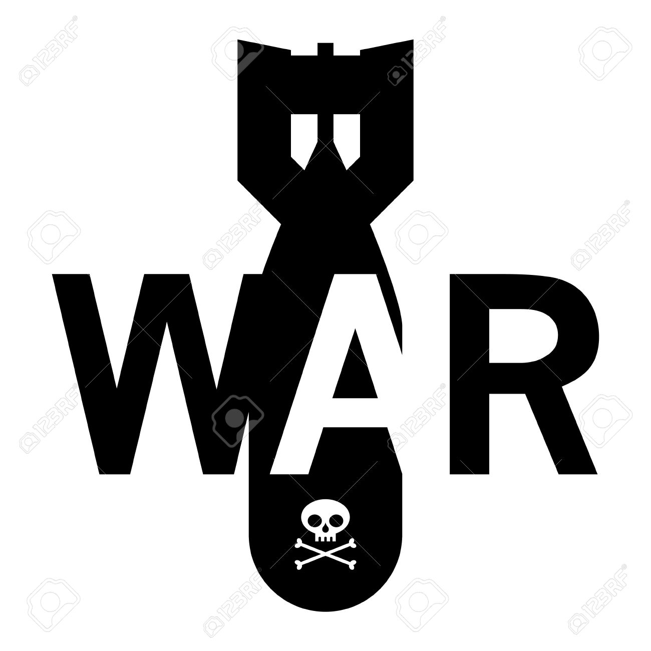 War Bomb Skull Bones Fear Danger Symbol Royalty Free Cliparts