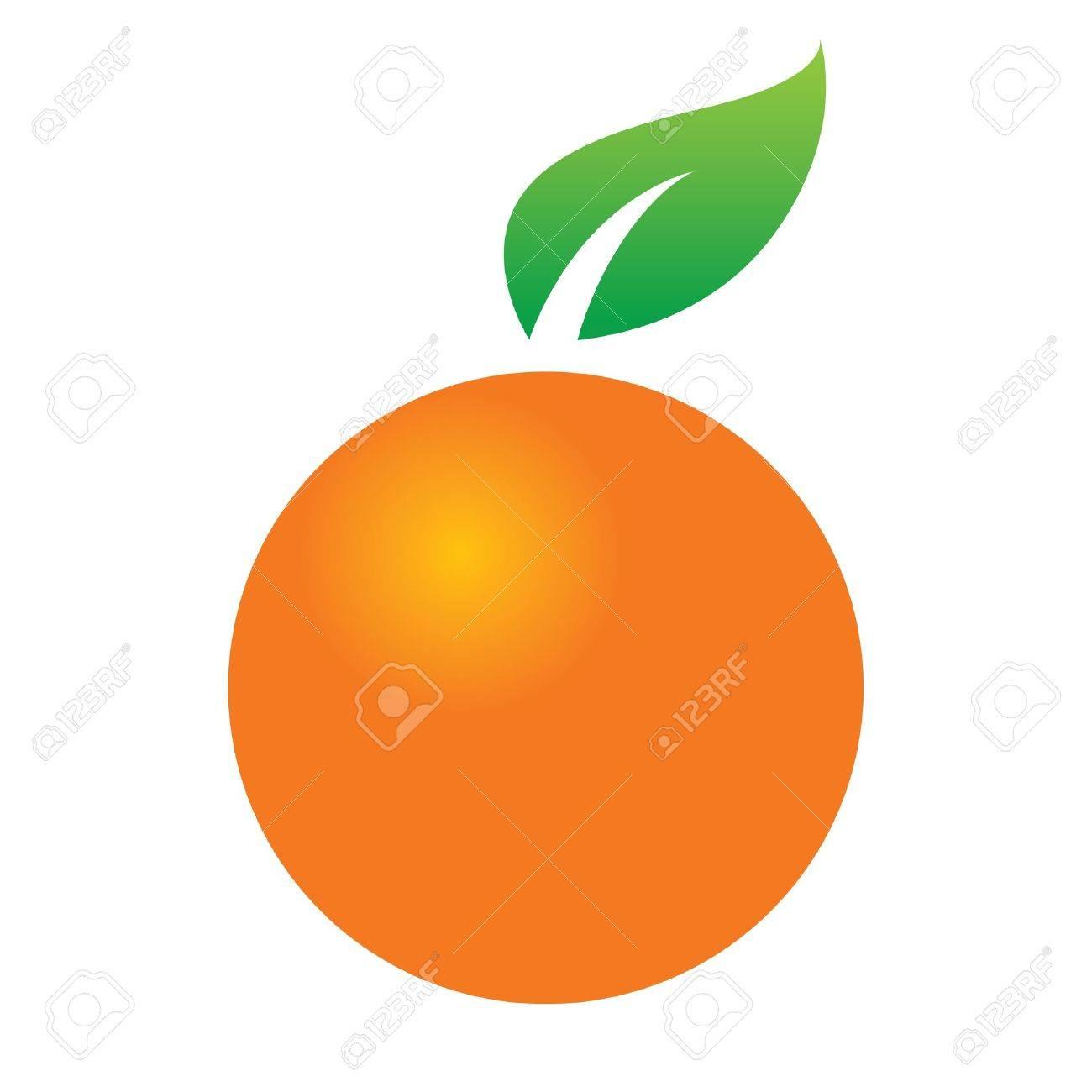 Orange Citrus Fruit Juicy Green Leaf Icon Design Symbol Food
