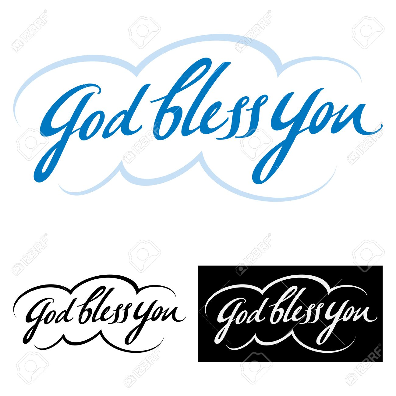 God Bless You Abstract Vector Word Phrase Good Wish And Blessing