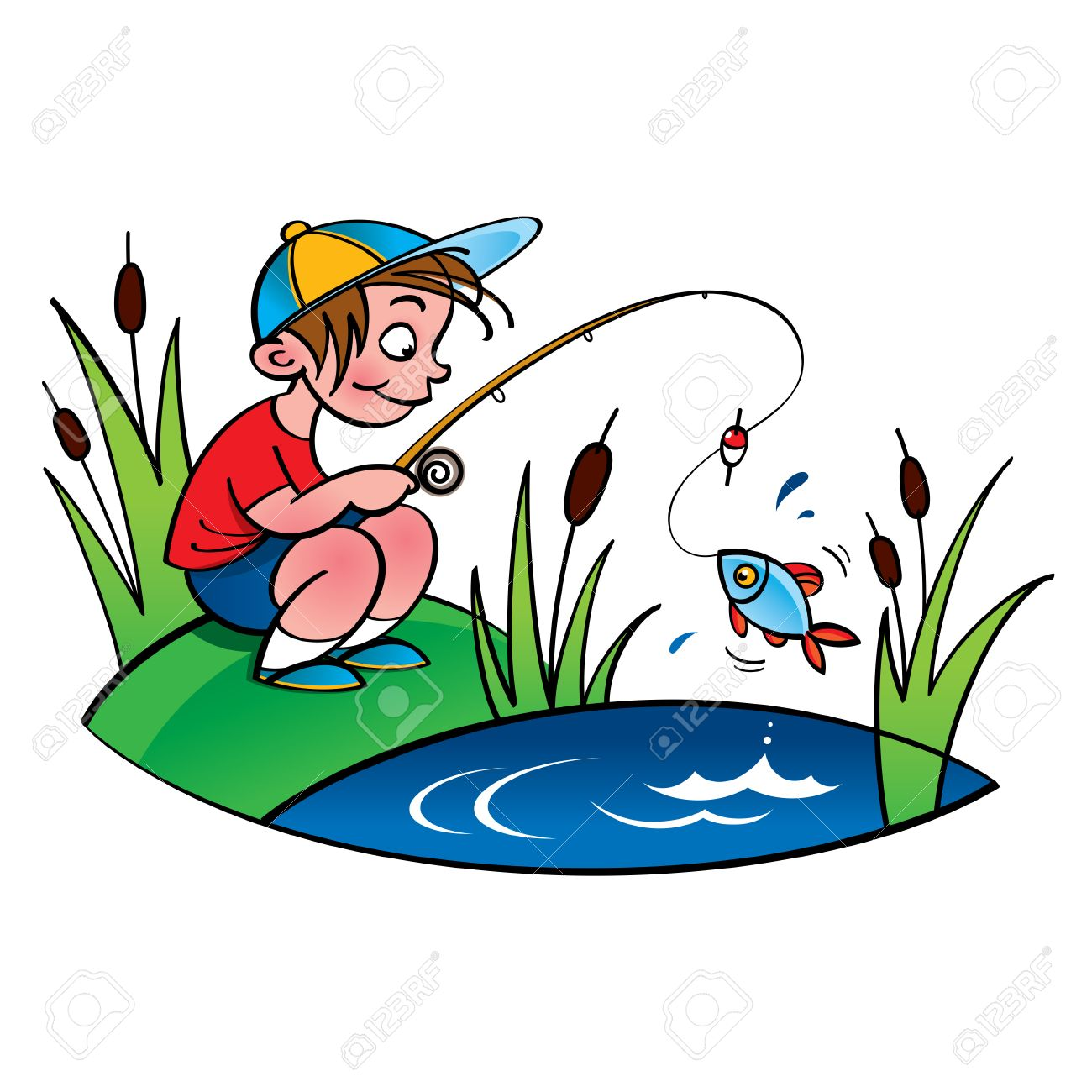young fisher little boy fishing on the lake royalty free cliparts rh 123rf com